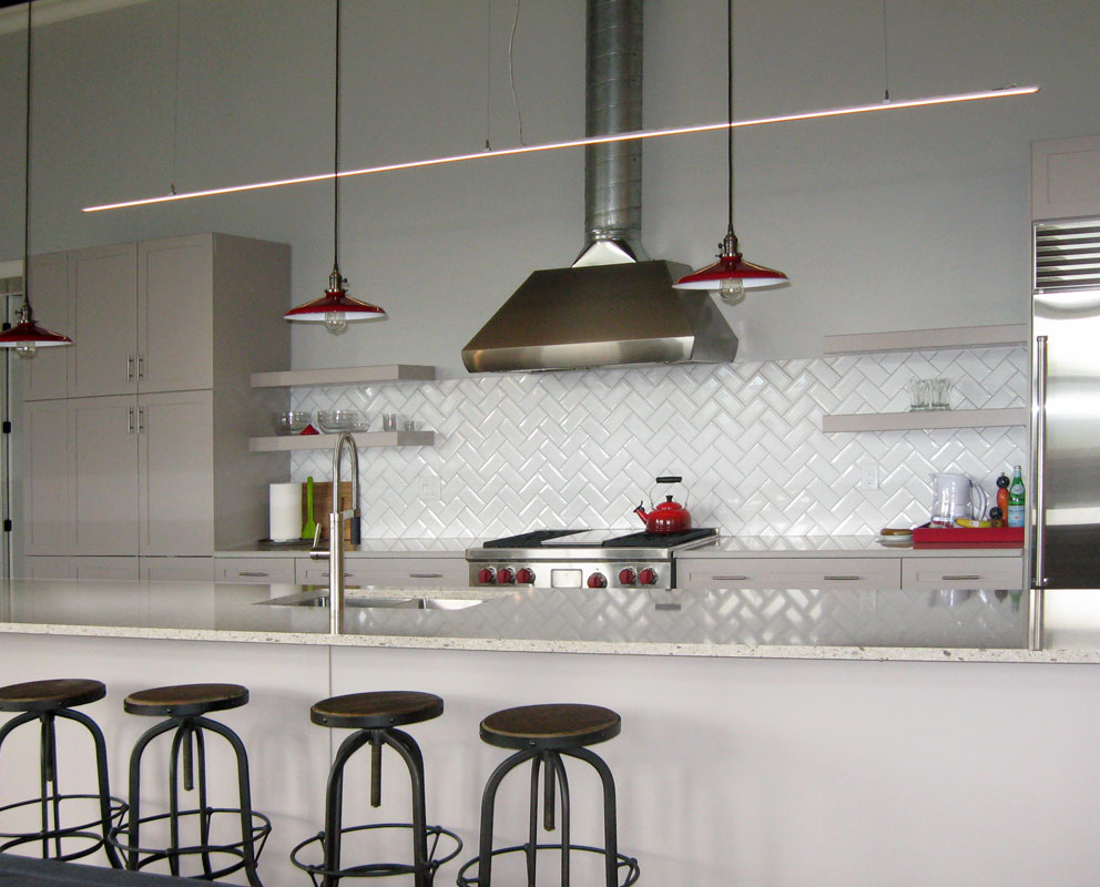 Slipstream Suspended LED Bar in Kitchen