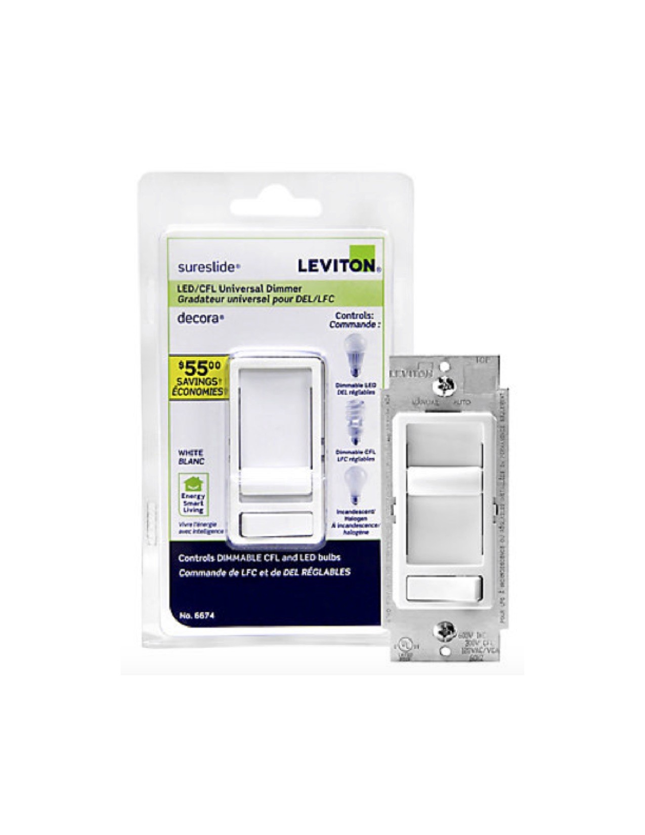 Leviton Sureslide Dimmer - 150 watt LED capacity - Lumicrest High ...